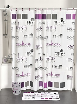 Evideco World Capitals Printed Shower Curtain