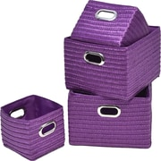 Evideco 4 Piece Basket w/ Handle Set; Purple