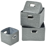 Evideco 4 Piece Basket w/ Handle Set; Gray
