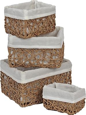 Evideco 4 Piece Utilities Basket Set; Beige