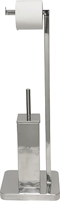 Evideco Stainless Steel Square Toilet Bowl Brush And Toilet Tissue Roll Dispenser Chrome