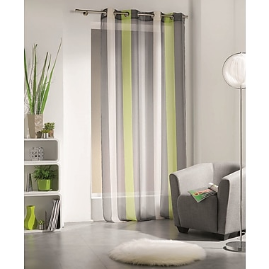 Evideco Riviera Striped Sheer Grommet Single Curtain Panel; Lime Green / Gray / Ecru