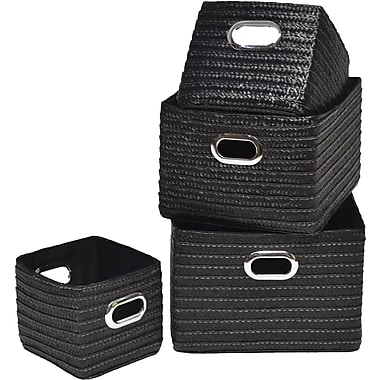 Evideco 4 Piece Basket w/ Handle Set; Black