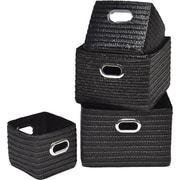 Evideco 4 Piece Basket w/ Handle Set; Black