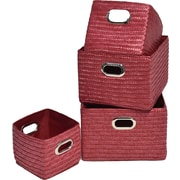Evideco 4 Piece Basket w/ Handle Set; Red