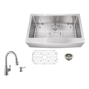Soleil 32.88'' x 20.57'' Apron Front Single Bowl Undermount Stainless Steel Kitchen Sink w/ Faucet