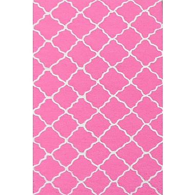 Park Avenue Rugs Handmade Pink and White Area Rug; 4'7'' x 7'7''