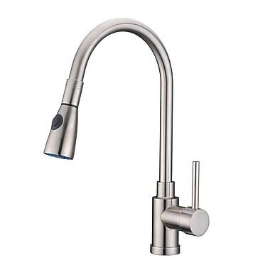 Alpha International Single Handle Pull Standard Kitchen Faucet; Brushed Chrome
