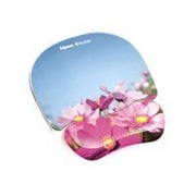 """Fellowes Polyurethane 9.25""""H x 7.88""""W Pink Flower Multicolor Photo Gel Mouse Pad and Wrist Rest (9179001)"""