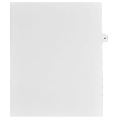 Mark Maker Legal Exhibit Index Tab White Single Tabs, 1/15th Cut, Letter Size, No Holes, Number 65, 25/Pack