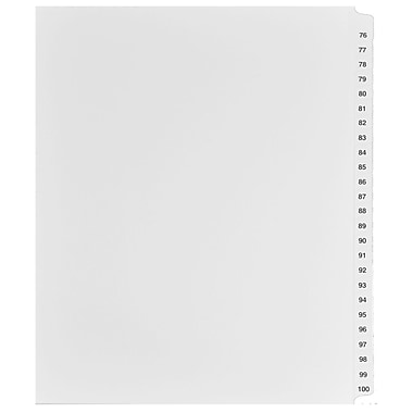 Mark Maker Legal Exhibit Index Tab Set of White Single Tabs, 1/25th Cut, Letter Size, No Holes, Number 76 - 100
