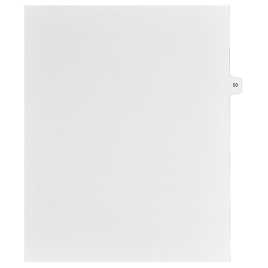 Mark Maker Legal Exhibit Index Tab White Single Tabs, 1/15th Cut, Letter Size, No Holes, Number 50, 25/Pack