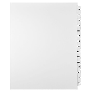 Mark Maker Legal Exhibit Index Tab Set of White Single Tabs, 1/15th Cut, Letter Size, No Holes, Number 136 - 150