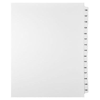 Mark Maker – Ensemble d'onglets séparateurs juridiques blancs, 1/15 onglets, format lettre, sans trous, numéros 136 à 150