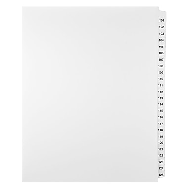 Mark Maker Legal Exhibit Index Tab Set of White Single Tabs, 1/25th Cut, Letter Size, No Holes, Number 101 - 125