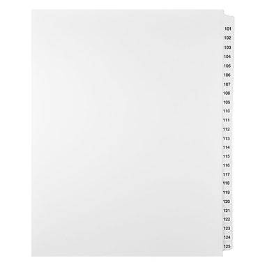 Mark Maker – Ensemble d'onglets séparateurs juridiques blancs, 1/25 onglets, format lettre, sans trous, numéros 101 à 125