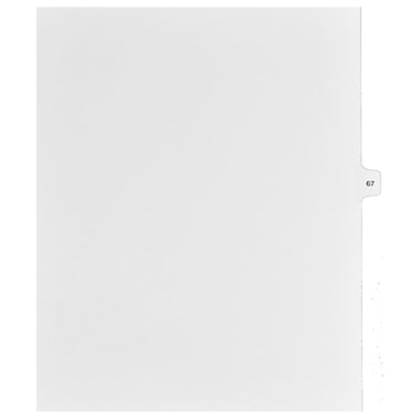 Mark Maker Legal Exhibit Index Tab White Single Tabs, 1/15th Cut, Letter Size, No Holes, Number 67, 25/Pack