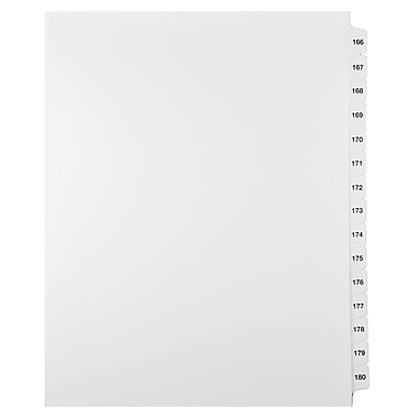 Mark Maker Legal Exhibit Index Tab Set of White Single Tabs, 1/15th Cut, Letter Size, No Holes, Number 166 - 180