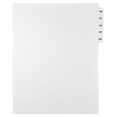 Mark Maker Legal Exhibit Index Tab Set of White Single Tabs, 1/15th Cut, Letter Size, No Holes, Number 196 - 200