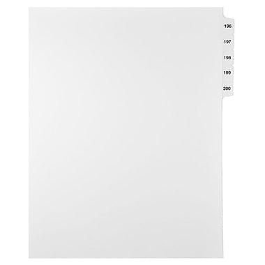 Mark Maker – Ensemble d'onglets séparateurs juridiques blancs, 1/15 onglets, format lettre, sans trous, numéros 196 à 200