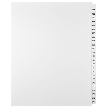 Mark Maker Legal Exhibit Index Tab Set of White Single Tabs, 1/25th Cut, Letter Size, No Holes, Number 151 - 175