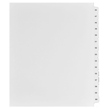 Mark Maker Legal Exhibit Index Tab Set of White Single Tabs, 1/15th Cut, Letter Size, No Holes, Number 46 - 60