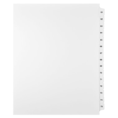 Mark Maker Legal Exhibit Index Tab Set of White Single Tabs, 1/15th Cut, Letter Size, No Holes, Number 61 - 75