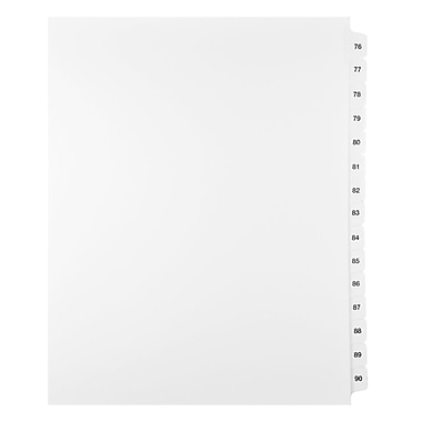 Mark Maker Legal Exhibit Index Tab Set of White Single Tabs, 1/15th Cut, Letter Size, No Holes, Number 76 - 90