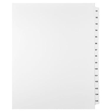 Mark Maker – Ensemble d'onglets séparateurs juridiques blancs, 1/15 onglets, format lettre, sans trous, numéros 91 à 105