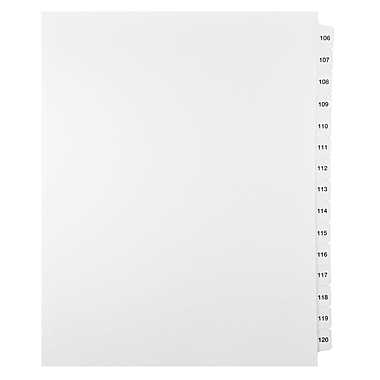 Mark Maker Legal Exhibit Index Tab Set of White Single Tabs, 1/15th Cut, Letter Size, No Holes, Number 106 - 120