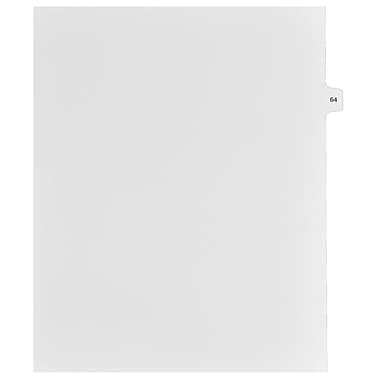 Mark Maker Legal Exhibit Index Tab White Single Tabs, 1/15th Cut, Letter Size, No Holes, Number 64, 25/Pack