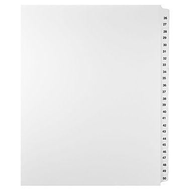 Mark Maker Legal Exhibit Index Tab Set of White Single Tabs, 1/25th Cut, Letter Size, No Holes, Number 26 - 50