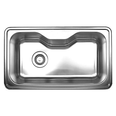 Whitehaus Collection Noah's 33.5'' x 19.75'' Single Bowl Drop-in Kitchen Sink; A: One Hole - Center