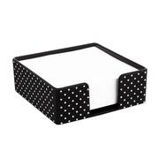 Insten Soft Touch Desktop Memo Pad Holder, Black with White Dot (2174124)