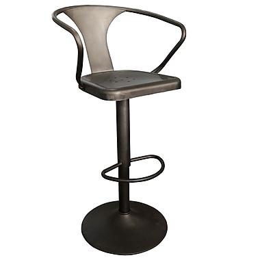 Solid Metal Stool in Gunmetal Finish, Adjustable Height, 34-43
