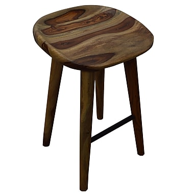 Solid Sheesham Wood Counter Stool, Natural 26