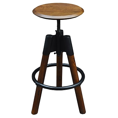 Industrial Style Adjustable Stool, Black/Natural, 24-34