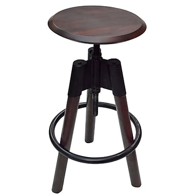Industrial Style Adjustable Stool, Black/Walnut, 24-34