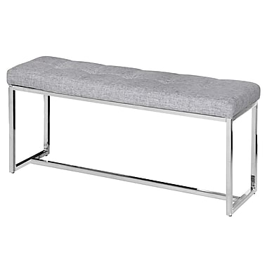 Tufted Light Grey Fabric Chrome Bench, 18