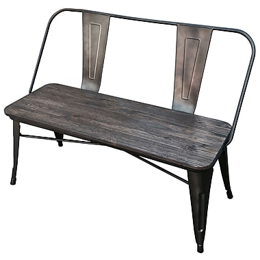 Industrial Double Bench, Gunmetal, 33.5