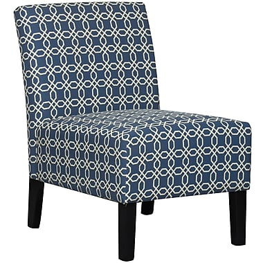 Fabric Accent Chair, Blue/Natural, 32.25