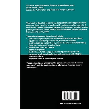 Systems, Approximation, Singular Integral Operators, and Related Topics: International Workshop on Op, Used Book (9783764366452)
