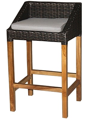 Jeffan Swooped 22'' Patio Bar Stool w/ Cushion