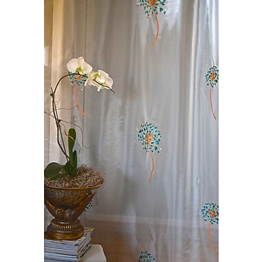 Debage Inc. The Romance Nature/Floral Sheer Rod pocket Curtain Panels (Set of 2); Emerald Green