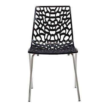 Grandsoleil Stacking Patio Dining Chair (Set of 2); Glossy Black