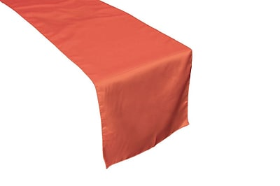 LA Linen Bridal Satin Table Runner; Coral