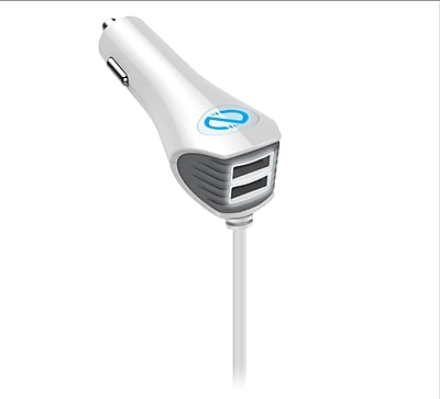Naztech Wired Trio Car Charger, 8', White, Lightning Connector (N420-12413)