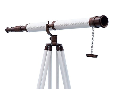 Handcrafted Nautical Decor Galileo Refracting Telescope; Bronze