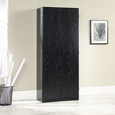 Sauder Storage Cabinet Ebony Ash Staples