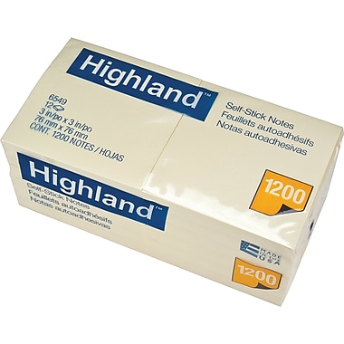 "Highland™ Removable Self Stick Note Pads, 3"" x 3"" Yellow, 12/Pack"